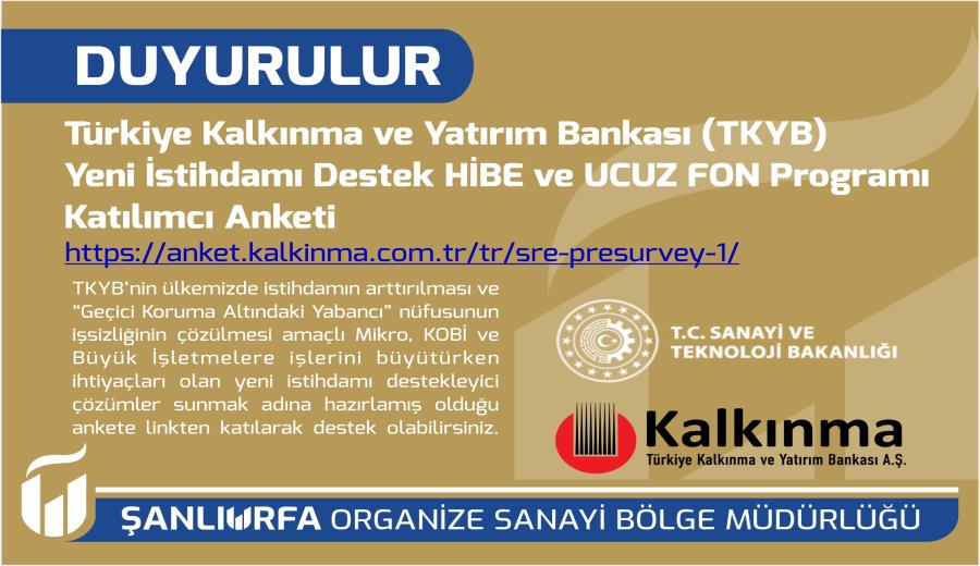 TKYB Yeni İstihdamı Destek HİBE ve UCUZ FON Programı Katılımcı Anketi