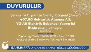 407,60 Hektarlık Alanına Ait YG-AG Elektrik Şebekesi Yapım İşi İhalesi